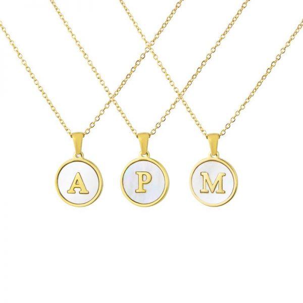 collar personalizado inical blanco concha nacar acero inoxidable letra abecedario