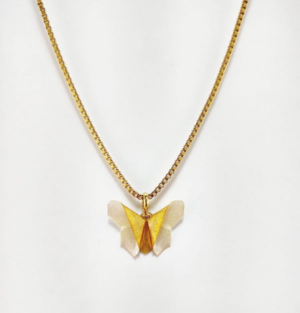 collar de origami papel hecho a mano mexicano joyeria artesanal queretaro mexico okami joyeria mariposa