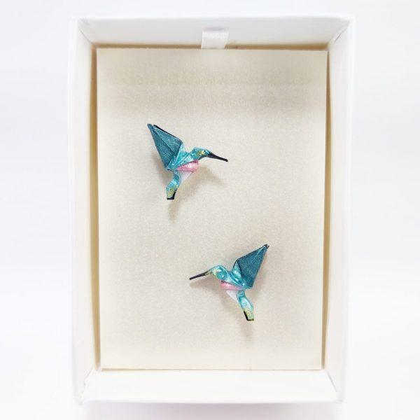 aretes de origami papel hecho a mano mexicano joyeria artesanal queretaro mexico okami joyeria colibri