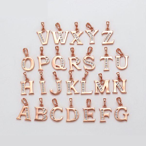 collar baño de oro rosado letra inicial con zirconia okami joyeria mexico queretaro
