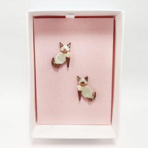 arete gato origami gatito joyeria mexicana artesanal origami