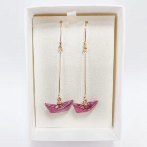 collar barquito rosa origami barco okami joyeria