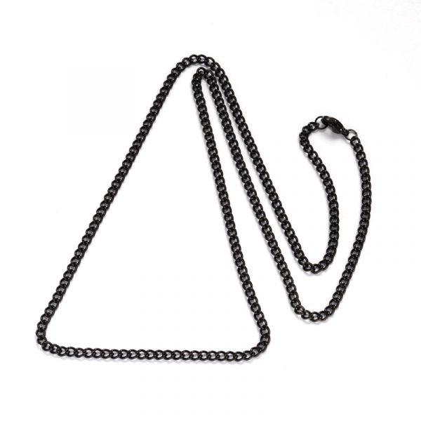 cadena negra acero inoxidable okami joyeria
