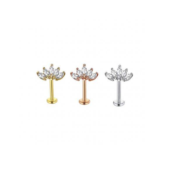 pieza piercing perfoarcion acero inoxidable flor helix okami joyeria