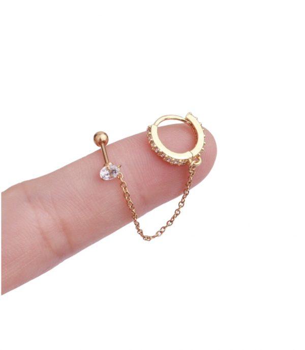 piercing perforacion oreja okami joyeria mexico queretaro con cadena arracada