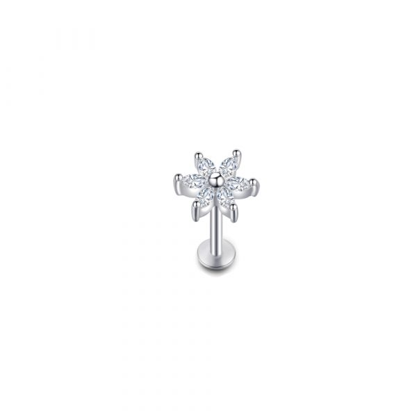 piericng perforacion heliz flor plateada zirconia transparente