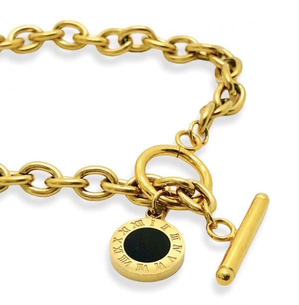 pulsera tipo bulgari acero inoxidable okami joyeria mexico queretaro dorado platead negro reloj