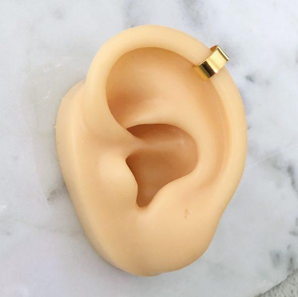 piercing falso oreja baño de oro dorado extrella serpiente okami joyeria queretaro mexico