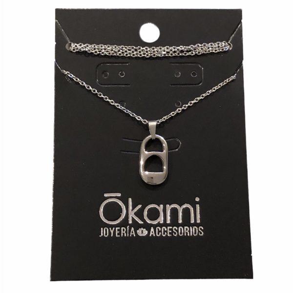 collar corcholata lata plateada acero inoxidable okami joyeria