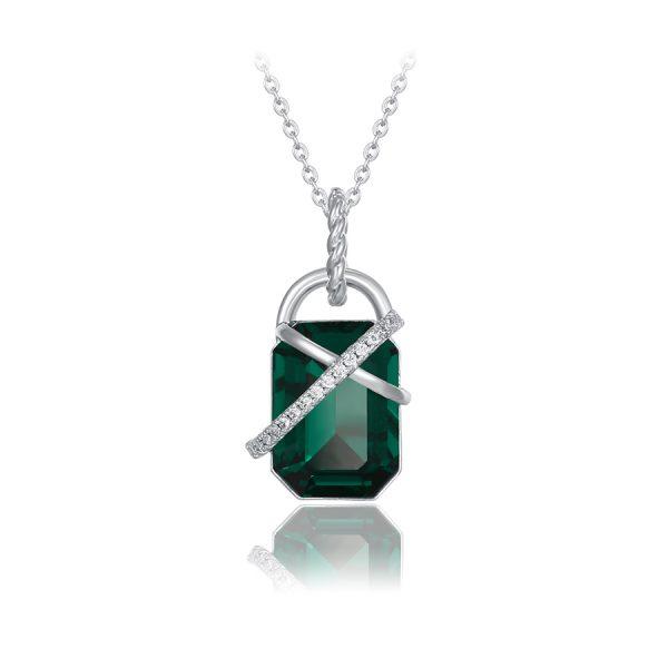 collar rectangulo cristal swarovski okami joyeria rodio plateado regalo