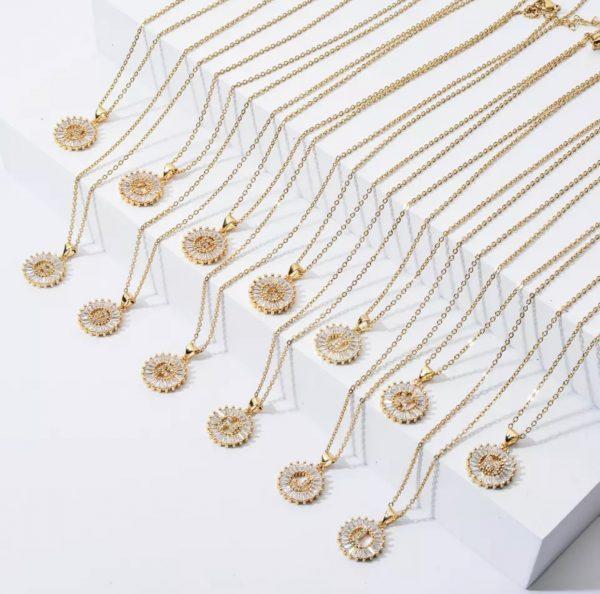 collar zirconia iniciales letras baño de oro acero inoxidable joyeria okami queretaro mexico