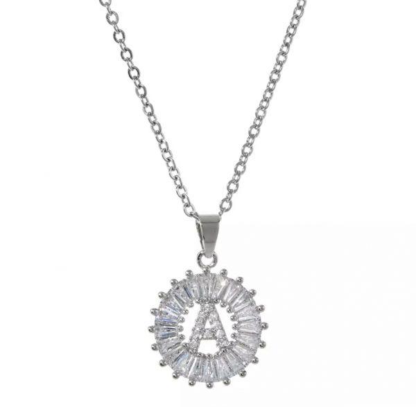 collar zirconia iniciales letras baño de oro acero inoxidable joyeria okami queretaro mexico plateada
